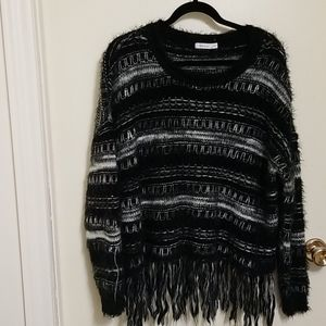 Black and White Sweater with Fringe